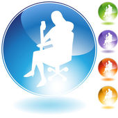 Sitting Business Woman Crystal — Stock Vector