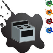 Stove icon button — Vetor de Stock