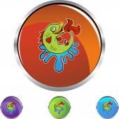 Fish web button — Stockvektor