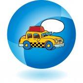 Icono amarillo taxi — Vector de stock