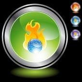 Brinnande klot webben knappen — Stockvektor