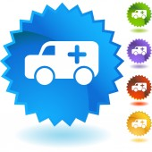 Ambulance web button — Stock Vector