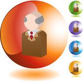 Senior  web button — ストックベクタ