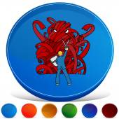 Red Tape Monster Gemstone Button Set — Stock Vector