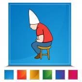 Dunce Hat Man on Stool Button Set — Stock Vector