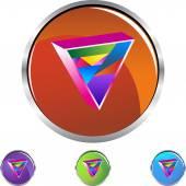 Gay Triangle icon button — Vettoriale Stock