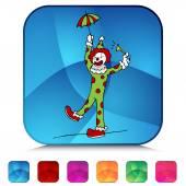Circus Clown Shiny Button Set — Stok Vektör