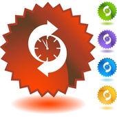 Arrow clock web button — Stock Vector