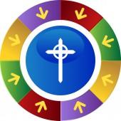 Cross web button — Stock Vector
