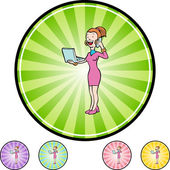 Girl Chatting web button — Stock Vector