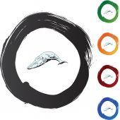 Whale web  button — 图库矢量图片