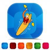 Rowing Kayak Man Gemstone Button Set — 图库矢量图片