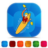 Rowing Kayak Man Gemstone Button Set — Stok Vektör