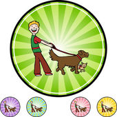 Icono de web Dog Walker — Vector de stock