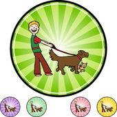 Dog Walker web icon — Stock Vector