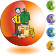 Tailor with a costume — Stock Vector #64176623