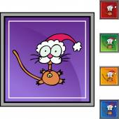 Little Cat in Santa hat — Vecteur