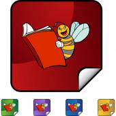 Bee Reading web button — Stock Vector