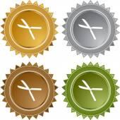 Gardening Shears button — Stock Vector