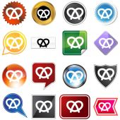 Pretzel icon set — Stock Vector
