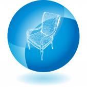 Chair web button — 图库矢量图片