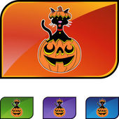 Halloween Cat button — Stockvektor