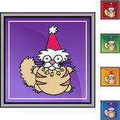 Christmas Cat web icon — Stock vektor