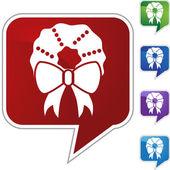 Christmas wreath web button — Stock Vector
