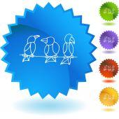 Perched Birds web icon — Stock Vector
