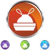 Trash Bag icon button — Stock Vector