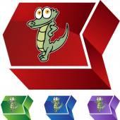 Alligator web button — Vettoriale Stock