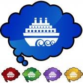 Cruise ship web button — Vettoriale Stock