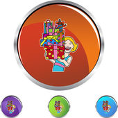 Woman with Gifts button — Stock vektor