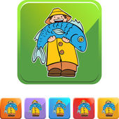Fisherman Icon Button — Stockvektor