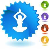 Przycisk web joga kobieta biznesu — Wektor stockowy
