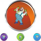 Greed man icon button — Stock Vector