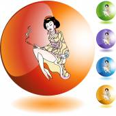 Geisha icon button — Stock Vector