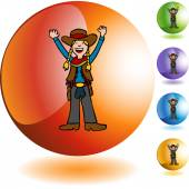 Cowgirl web icon — Stock Vector