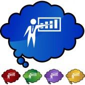 Chart businessman web button — Vetor de Stock