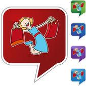 Girl Shopping web icon — Stock Vector