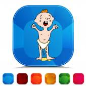 Leaking Wet Diaper Gemstone Button Set — Stock Vector