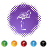 Pink Flamingo web icon — Stock Vector