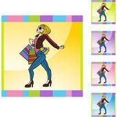 Shopping Woman web icon — Stock Vector