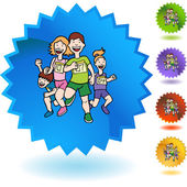 Family Running web icon — Stock Vector
