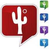 Cactus icon button — Stockvektor