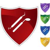 Dental tools web button — Stock Vector
