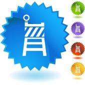 Construction barrier web button — Stock Vector