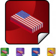 American Flag web button — Stock Vector #64189941