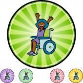 Disabled Girl button — Stock Vector