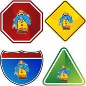Fisherman Icon Button — Stock Vector